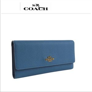 NWT Coach Blue Pebbled Leather Trifold Wallet